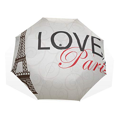 Umbrella for Men Compact Paris Cards As Symbol Love and Romance Travel Windproof Fold Up Umbrella for Kids Rain & Wind Resistant Compact and Lightweight for Business and Travels