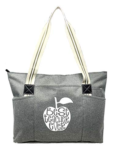 Large Teacher Zippered Tote Bags with Pockets for Teachers - Perfect for Work, Gifts for Educators,...