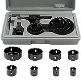 SHEENO 11Pcs 19-64mm Kit Scies Cloches bi-métal en Acier Carbone,Scie Cloche Coffret pour Bois, Plaque de Plâtre et Plaques de Plâtre
