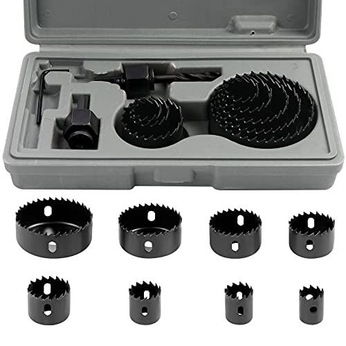11 piezas kit de corte de sierra de agujero, herramientas de brocas de acero al carbono para madera, placas de yeso, plástico y metales no ferrosos (19-64 mm)