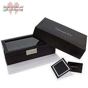 Glenor Co Watch Box for Men - 12 Slot Luxury Carbon Fiber Design Display Case, Large Holder, Metal Buckle -Black