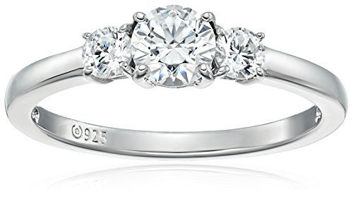 Platinum or Gold Plated Sterling Silver Round 3-Stone Ring