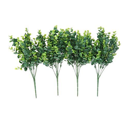 VORCOOL Lot de 4 plantes artificielles d'eucalyptus - Imitation buis réaliste - Pour jardin, terrasse, cour, mariage, bureau et ferme - Décoration intérieure ou extérieure