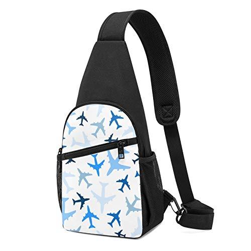 DEKIFNHG Blue Plane Flight Sling Backpack Hiking Daypack Crossbody Shoulder Bag