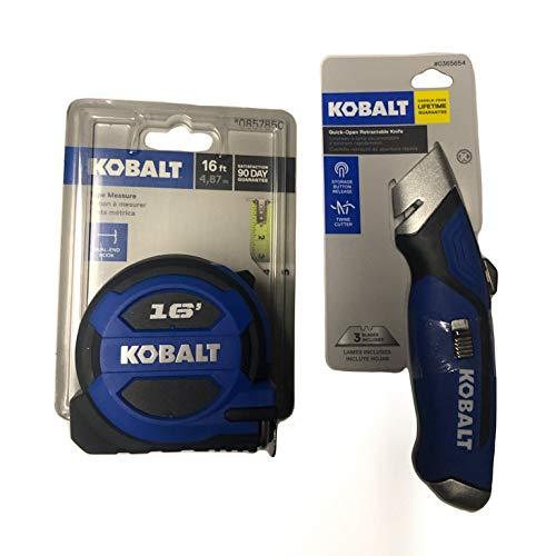 Kobalt DIY Project Bundle - 2 Items: Kobalt 16-ft Tape Measure and Kobalt 3-Blade Utility Knife