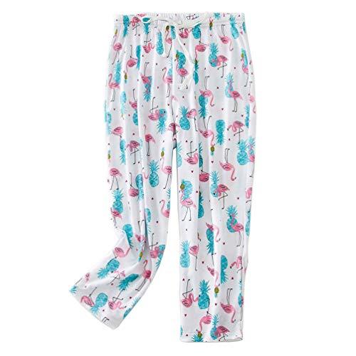 ENJOYNIGHT Pantalones de pijama capri para mujer, con estampado de casualidad Flamingo. M