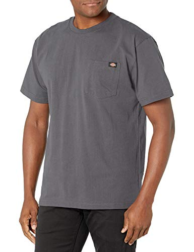 Dickie's Men's Short Sleeve Heavyweight Crew Neck Pocket T-Shirt, Charcoal, Medium