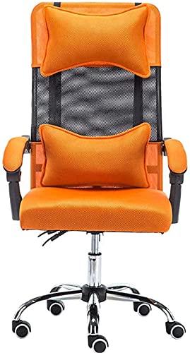 LHMYHJR Gaming Stuhl Bürostuhl Neigung Bürostuhl mit Fußstütze Ergonomische Lounge Stuhl Atmungsaktive Schweißhöhenanpassung mit Kopfstütze/Taille Kissen Schreibtischstuhl-EIN_Orange