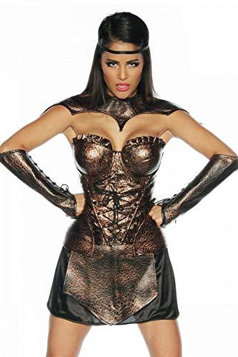 Corsé, falda, 2 pulseras, el tanque Gladiator-traje marrón/negro
