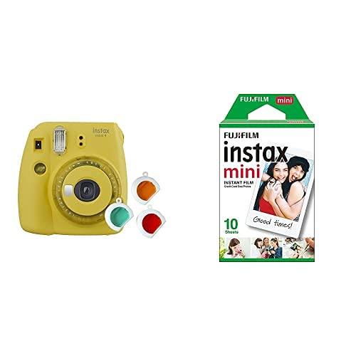 Fujifilm Instax Mini 9 Yellow Fotocamera per Stampe, Formato 62 x 46 mm, Giallo & Instax Mini Film Pellicola Istantanea per Fotocamere Instax Mini, Formato 46x62 mm, Confezione da 10 Foto