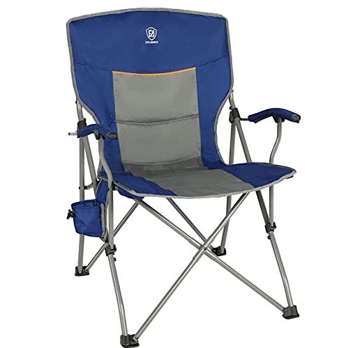 EVER ADVANCED Campingstuhl faltbar Klappstuhl gepolsterte Rücklehne Harte Armlehne Stahlrahmen Angelstuhl belastbar 135kg blau