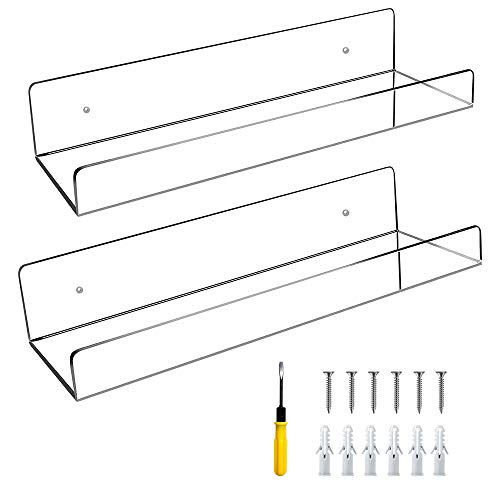 Pollenzic Acrylic Floating Shelves Clear Acrylic Shelf Floating Shelves for Wall, Set of 2, 15.7inch, with tolls, Home Decor Wall Mounted Kids Bookshelf, Shelf Floating for Bathroom Kitchen Bedroom