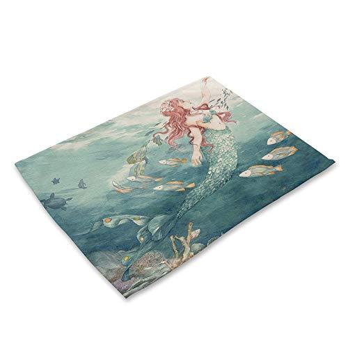 Mantel Individual Impreso,4 Piece Set Tela De Algodón Placemat Cartoon Mermaid Grupo...
