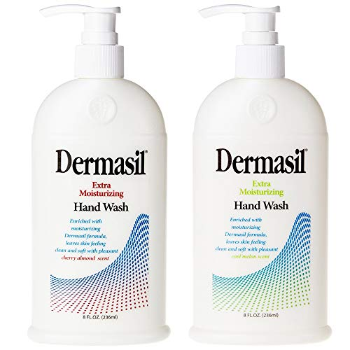 Dermasil Hand Wash Extra Moisturizing Gentle Liquid Soap Cleanser Advanced Dry Skin Treatment Natural Scented Cherry Almond and Cool Melon Paraben Free Multipack Pump Cap 8oz Bottle Pack of 2