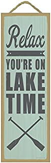 "SJT ENTERPRISES, INC. Relax. You're on Lake time (Oar Image) Lake Primitive Wood plaques, Signs - Measure 5"" x 15"" Size. (SJT02537)"