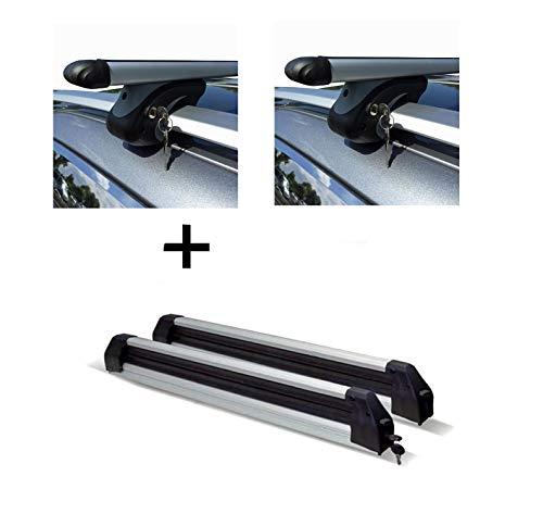VDP Relingträger XL 135 + Skiträger/Snowboardträger/Skihalter Silve Ice ausziehbar kompatibel mit VW Touran Kombi 03-14