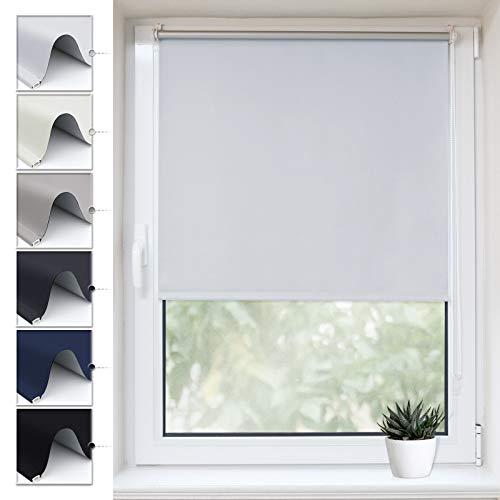 Buseu Verdunkelungsrollo Klemmfix, Sichtschutz Thermorollo ohne Bohren,Hitzeschutz &Sonnenschutz Fensterollo für Kinderzimmer Weiß 80x170(BxH)