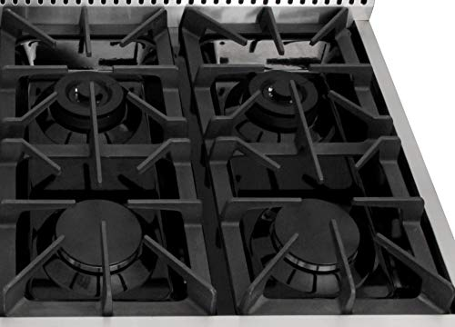 Evakitchen Pro-Style Gas Rangetop with 6 Cooktop, Sealed Performance Burners with Iron Grates, Metal Knobs in Stainless… 8 Black Porcelain Drip Pan 3 x Heavy Duty Flat Cast-iron Cooking Grates Fuel :NG/LPG( LP kits could be a free gift if needed)