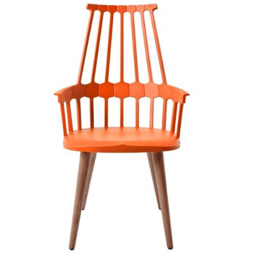 Kartell 595410 Comback Stuhl vier Holzbeine 58 x 100 x 50 cm Sitzhöhe 48,5 cm Sitzflächenfarbe Gestell Eiche, orange / rot