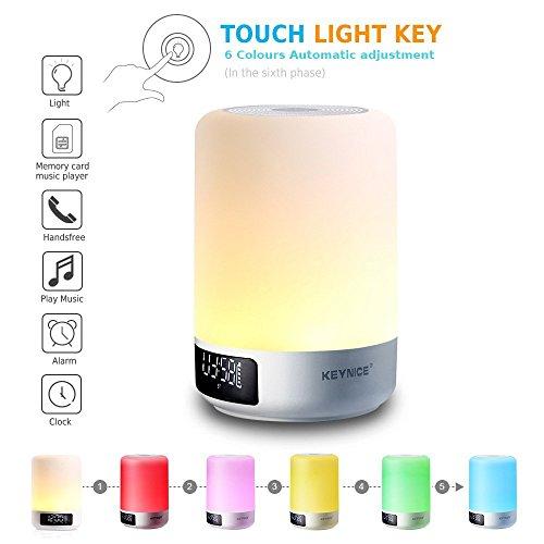Ultima versión Keynice Lámpara de Noche Control Táctil, Lámparas de Escritorio con altavoz Bluetooth, Luz de Atmósfera, Luz Nocturna de Mesa para Niños- Blanco