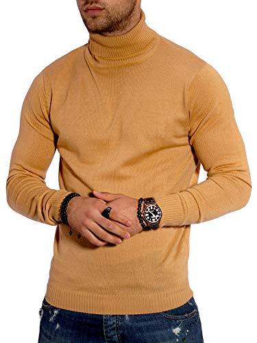 Rello & Reese Herren Rollkragen Pullover Feinstrick Pulli Sweatshirt Rolli 21041 [Beige, M]