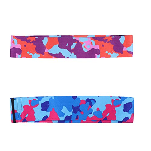 ABOOFAN 2 bandas de resistencia antideslizantes de camuflaje para ejercicio, fitness, yoga, bandas elásticas para tirar (azul y naranja, talla L)