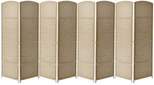 Sorbus Room Divider Privacy Screen, 6 ft. Tall Extra Wide Foldable Panel Partition Wall Divider, Double Hinged Room Dividers and Folding Privacy Screens, Diamond Double-Weaved (8 Panel, Beige)