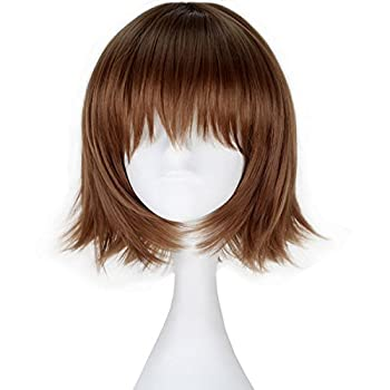Short Brown Wigs for Women Missuhair Straight BOB Brunette Wig with Bangs Halloween Costume Cosplay Wig