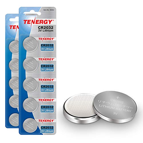 Tenergy 3V CR2032 Batteries, Lithium Button Coin Cell 2032 Battery, Compatible with AirTag, Key FOBs, calculators, Coin counters, Watches, Heart Rate Monitors, glucometer, and More - 10 Pack