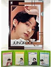 TradePlace JUNGKOOK ジョングク BTS 防弾少年団 グッズ / A4 クリアファイル + 4つ折り メモパッド (4連 メモ帳) セット A4 Size Clear File Folder + Quarto Memo Pad (Mini Book Style) 韓流 K-POP 韓国製