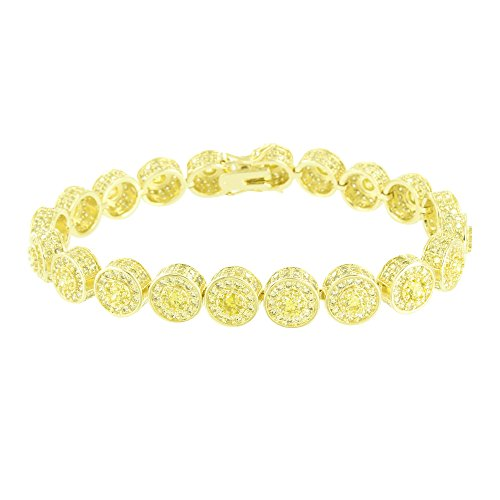 Master Of Bling Solitaire Round Link Bracelet Canary Lab Diamond 14k Yellow Gold Finish