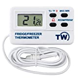 Termómetro digital para nevera, con alarma de advertencia, temperatura máxima y mínima y sonda de 1,2m