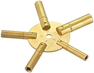 Brass Blessing : Universal 5 Prong Brass Clock Key for Winding Clocks, Even Numbers, 1 Piece (5024)