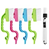 5 Pcs Hand-held Groove Gap Cleaning Tools, 4 Pcs Window Door Sliding Track Cleaning Brush + 1 Pcs Dustpan Cleaning Brushes, Home Kitchen Bathroom Cleaning Brush Tool