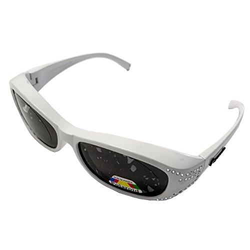 Figuretta Sonnenbrille Überbrille in weiß mit Strass Optik