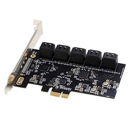 10 Ports PCI zu SATA 3.0 Controller interne Erweiterungskarte PCI zu SATA Adapter Konverter für Desktop-PC Unterstützung SATA PCI-e x1 Riser-Erweiterungskarte 3.0
