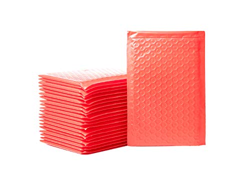 Empire Mailers #000 4 x 8-inch Red Padded Envelopes, Self Seal Mailers, Bubble-Lined Shipping Envelopes, Mail-Approved Poly Bubble Mailers, Self-Sealed Mailing Packages, Pack of 50