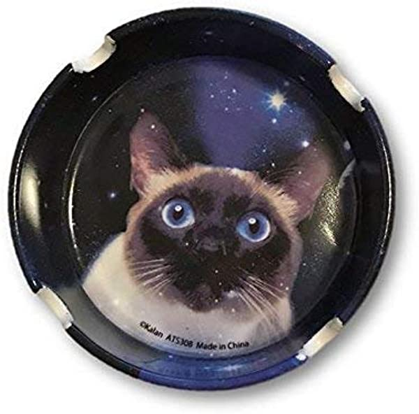 Novelty Pretty Blue Cat Staring Space Galaxy Round Stone Ashtray