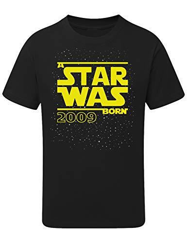 Geburtstags Shirt: Star was Born 11 Jahre - T-Shirt für Jungen und Mädchen - Geschenk-Idee zm 11. Geburtstag - Junge - Jahrgang 2009 - elf-TER - Lustig Cool Witzig - Kind-er - Trikot Pyjama (152/164)