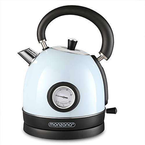 Deuba Hervidor de agua Azul de acero inoxidable diseno retro vintage 2200 W 1,8 L libre de BPA luz de control - cocina