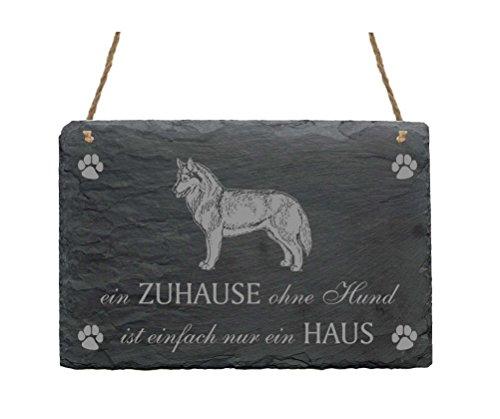 Leistenen bord SIBERIAN HUSKY « EEN Thuis ZONDER HOND IS GEMAKKELIJK ALLEEN HUIS » schild met hondenmotief - deurschild decoratie wanddecoratie - slee hond