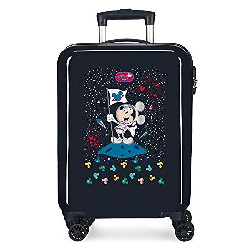 Disney Mickey Mickey on The Moon Maleta de Cabina Azul 38x55x20 cms Rígida ABS Cierre de combinación Lateral 34 2 kgs 4 Ruedas Dobles Equipaje de Mano
