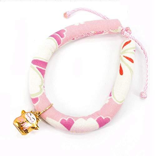 FYN Handgemachte verstellbare Hundekatze Halsband gedruckt Krawatte Halskette mit Bell Cats Welpen Kätzchen Haustier Katze Zubehör, D, M.