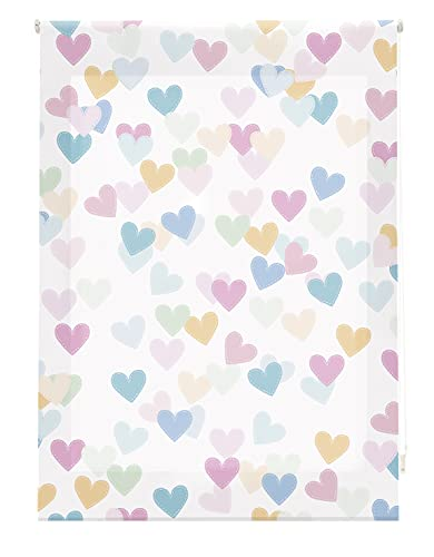 Blindecor Estor enrollable digital translúcido infantil, Hearts, 130x180 cm ( ancho x alto)