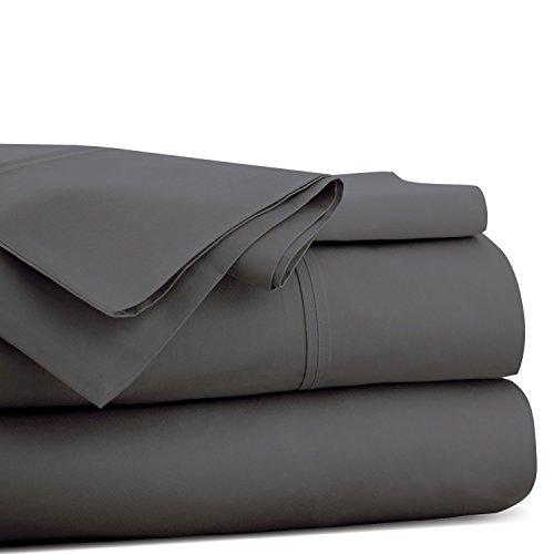 PC Diana Lin 100% Coton Drap de lit Ensemble – 400 Fils Satin tissé – Naturel, Doux, 35 cm de Profondeur de Linge de lit Luxueux de qualité – 4 pièces de Poche (Gris éléphant uni Euro Double IKEA)