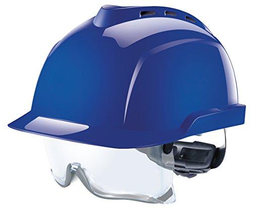 MSA V-Gard 930 Profihelm | Entspricht DIN EN397 | mit Belüftung und Drehradregelung Fasttrack | inkl. Integriertem Schutzvisier / Schutzbrille | Farbe: Blau