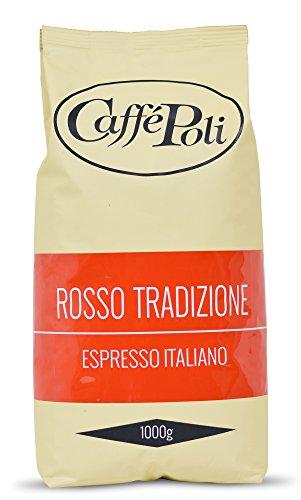 Caffè Poli Rosso Tradizione Espresso Italiano | Italienische Espressobohnen | Ideal für Kaffeevollautomaten, Siebträger und Espressomaschine | Kaffee-Bohnen aus Italien (1 x 1 kg Packung)