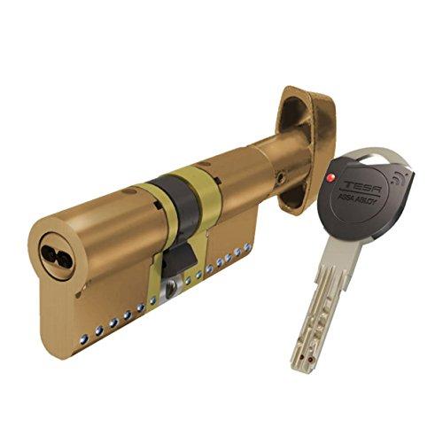 Tesa Assa Abloy, TK1B3535L, Cilindro de Alta Seguridad, TK100, Doble Embrague, Leva Larga, 35 x 35 mm