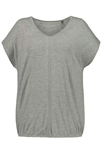 GINA LAURA Damen | Shirt | Over-Size | Größe S-XXXL |Kurze Raglan-Ärmel, Teilungsnaht | Jersey | Mittelgrau XL 711019 12-XL