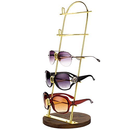 MyGift Estante de 5 niveles hecho de metal dorado, ideal para gafas de sol. Incluye base de madera.